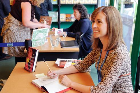 Annabel Pitcher signing books at the Edinburgh International Book Festival 2011