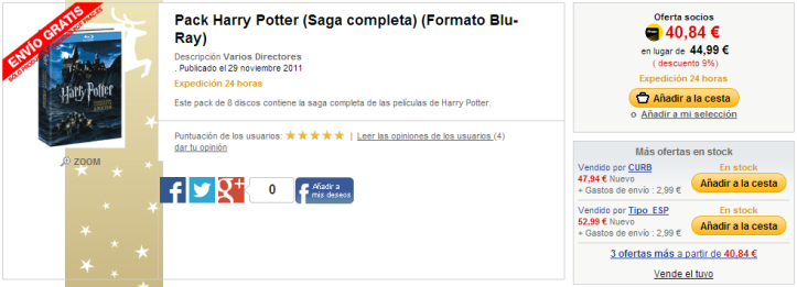 Pack Harry Potter  Saga completa   Formato Blu Ray    Fnac.es