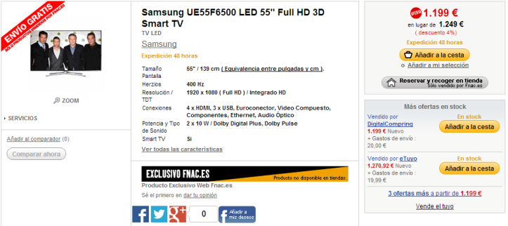Samsung UE55F6500 LED 55  Full HD 3D Smart TV   Fnac.es   TV LED